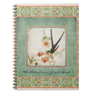 Chinoiserie Vintage Hummingbirds n Flowers Coral Notebook