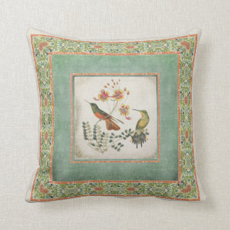Chinoiserie Vintage Hummingbirds n Flowers Coral Pillow