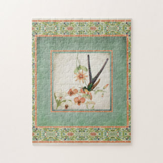 Chinoiserie Vintage Hummingbirds n Flowers Coral Puzzles