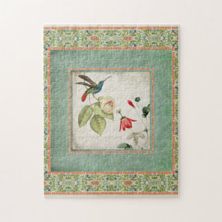 Chinoiserie Vintage Hummingbirds n Flowers Coral Puzzle