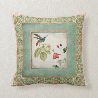 Chinoiserie Vintage Hummingbirds n Flowers Coral Throw Pillow