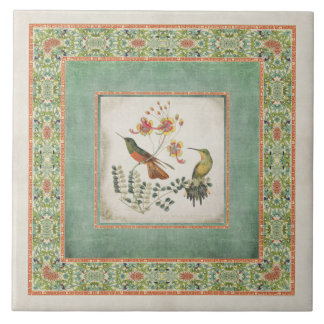 Chinoiserie Vintage Hummingbirds n Flowers Coral Tile