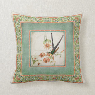 Chinoiserie Vintage Hummingbirds n Flowers Striped Throw Pillow