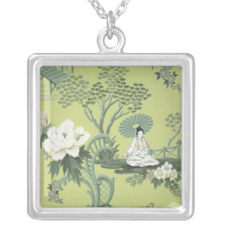 Chinoiserie wallpaper, 1950-1960 silver plated necklace