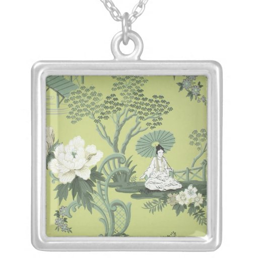 Chinoiserie wallpaper, 1950-1960 square pendant necklace
