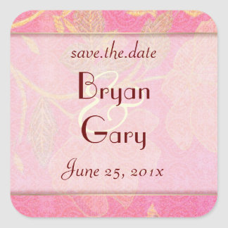 Chinoiserie WEDDING Save-the-Date Square Sticker