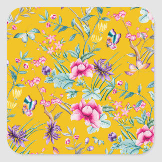 CHINOISERIE - YELLOW BASE SQUARE STICKER