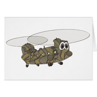 Chinook Camouflage Helicopter Cartoon Card