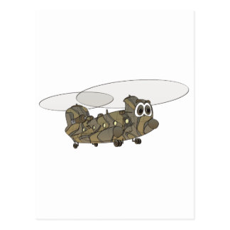 Chinook Camouflage Helicopter Cartoon Postcard