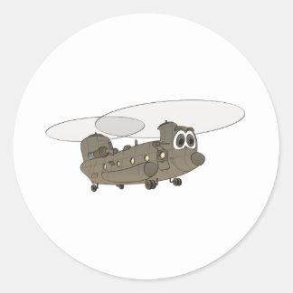 Chinook Helicopter Cartoon Round Sticker