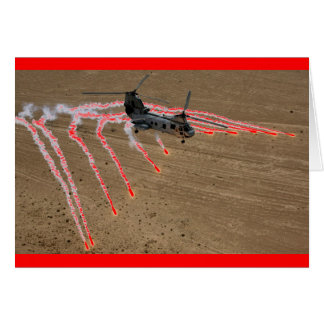 chinook helicopter heat flares greeting card
