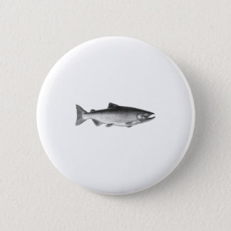 Chinook - King Salmon Logo (black and white) Button