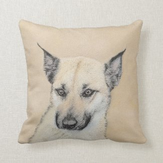 Chinook Puppy (Pointed Ears) Throw Pillow
