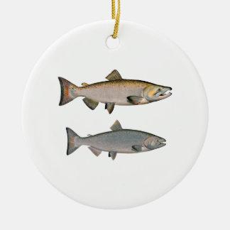 Chinook - rey salmones (que frezan fase) ornamentos de navidad