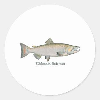 Chinook Salmon (titled) Round Sticker