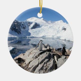Chinstrap Penguins in Antarctica Ceramic Ornament