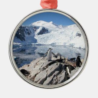 Chinstrap Penguins in Antarctica Metal Ornament