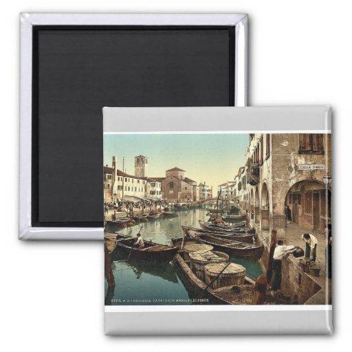 Chioggia, fish market, Venice, Italy vintage Photo 2 Inch Square Magnet
