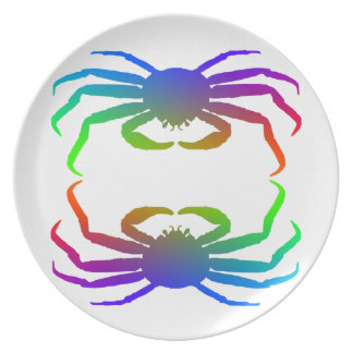 Chionoecetes Opilio Crab Silhouette Dinner Plate