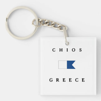 Chios Greece Alpha Dive Flag Keychain