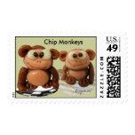 Chip Monkeys Funny Postage Stamps