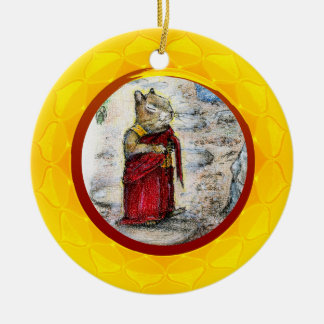 CHIP THE MONK Double-Sided CERAMIC ROUND CHRISTMAS ORNAMENT