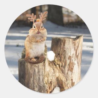 "Chipmunk adorable del ""reno"" pegatina redonda"