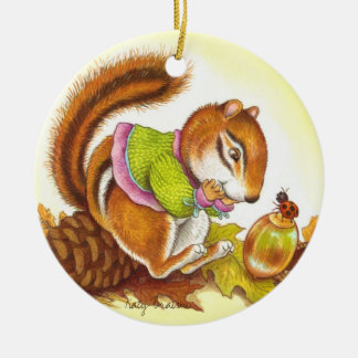 Chipmunk and Ladybug Best Friends Ornament Round Ceramic Ornament