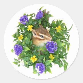 Chipmunk and photo (4) type-3 classic round sticker