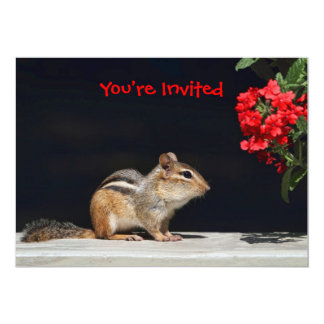 Chipmunk and Red Flowers Photo Card