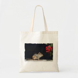 Chipmunk and Red Flowers Photo Tote Bag