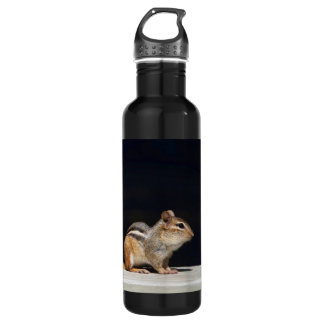 Chipmunk and Red Flowers Photo Water Bottle