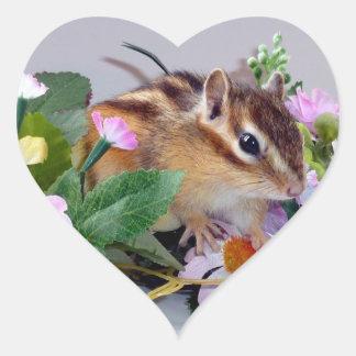 chipmunk, ardilla, foto pegatina corazon personalizadas