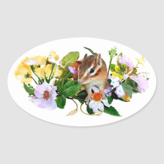 chipmunk, ardilla, foto pegatina ovaladas personalizadas