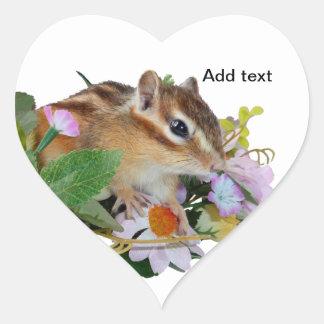 chipmunk, ardilla, foto calcomanías corazones personalizadas
