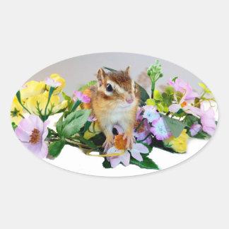 chipmunk, ardilla, foto pegatinas ovaladas personalizadas