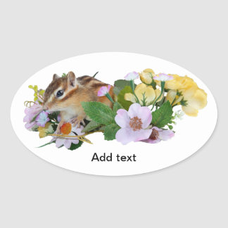chipmunk, ardilla, foto calcomanía oval personalizadas