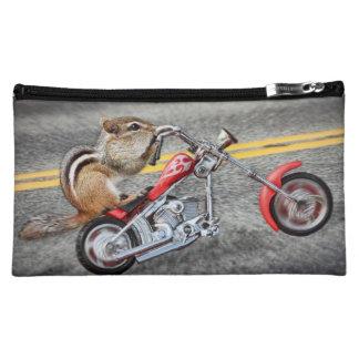 Chipmunk Biker Riding a Motorcycle Cosmetics Bags