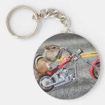 Chipmunk Biker Riding a Motorcycle Basic Round Button Keychain