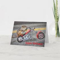 Chipmunk Biker Riding a Motorcycle Card