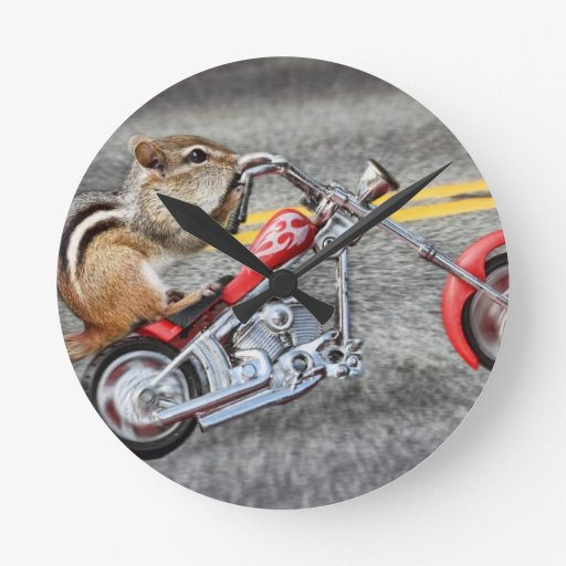 Chipmunk Biker Riding a Motorcycle Round Wall Clock