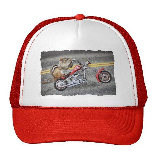 Chipmunk Biker Riding a Motorcycle Mesh Hats