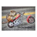 Chipmunk Biker Riding a Motorcycle Invite