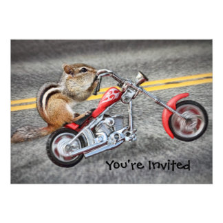 Chipmunk Biker Riding a Motorcycle Invite