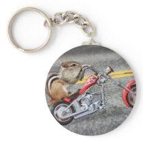 Chipmunk Biker Riding a Motorcycle Keychain