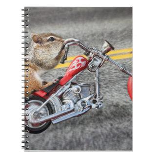 Chipmunk Biker Riding a Motorcycle Note Book
