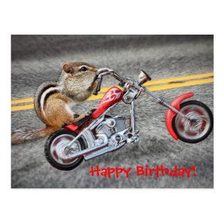 Chipmunk Biker Riding a Motorcycle Postcard