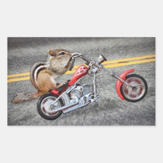 Chipmunk Biker Riding a Motorcycle Rectangular Sticker