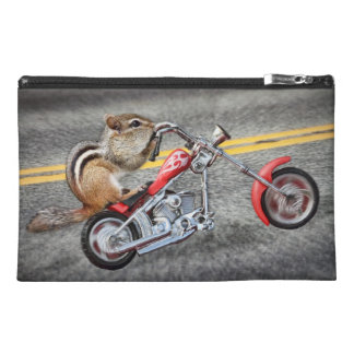 Chipmunk Biker Riding a Motorcycle Travel Accessory Bag
