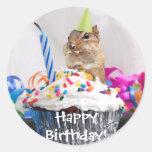 chipmunk birthday celebration classic round sticker